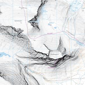 Högalpin karta Kebnekaise 1:15.000