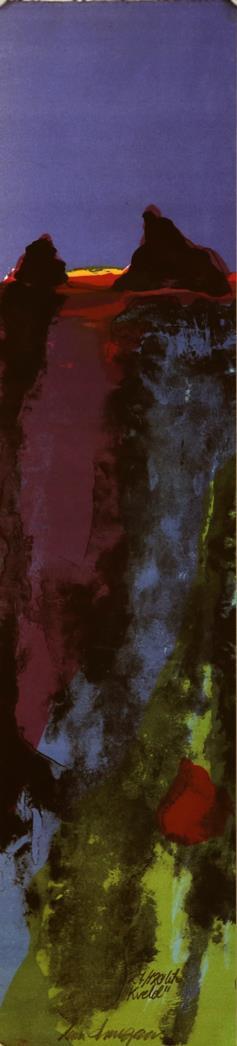 """Kveld"" litografi  15 x 61 cm."