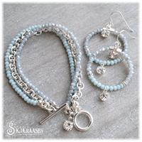 Embrace armbånd i lysturkis, lysblå og sølv