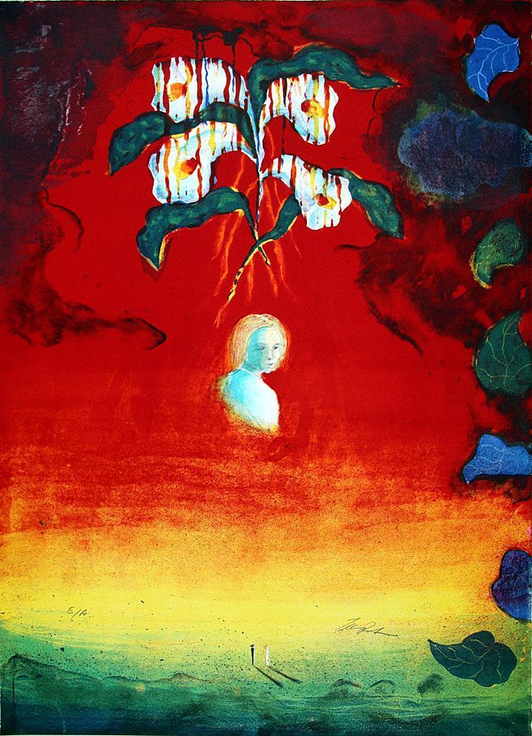 """""""Allegori"""", litografi, 61 x 45 cm."""
