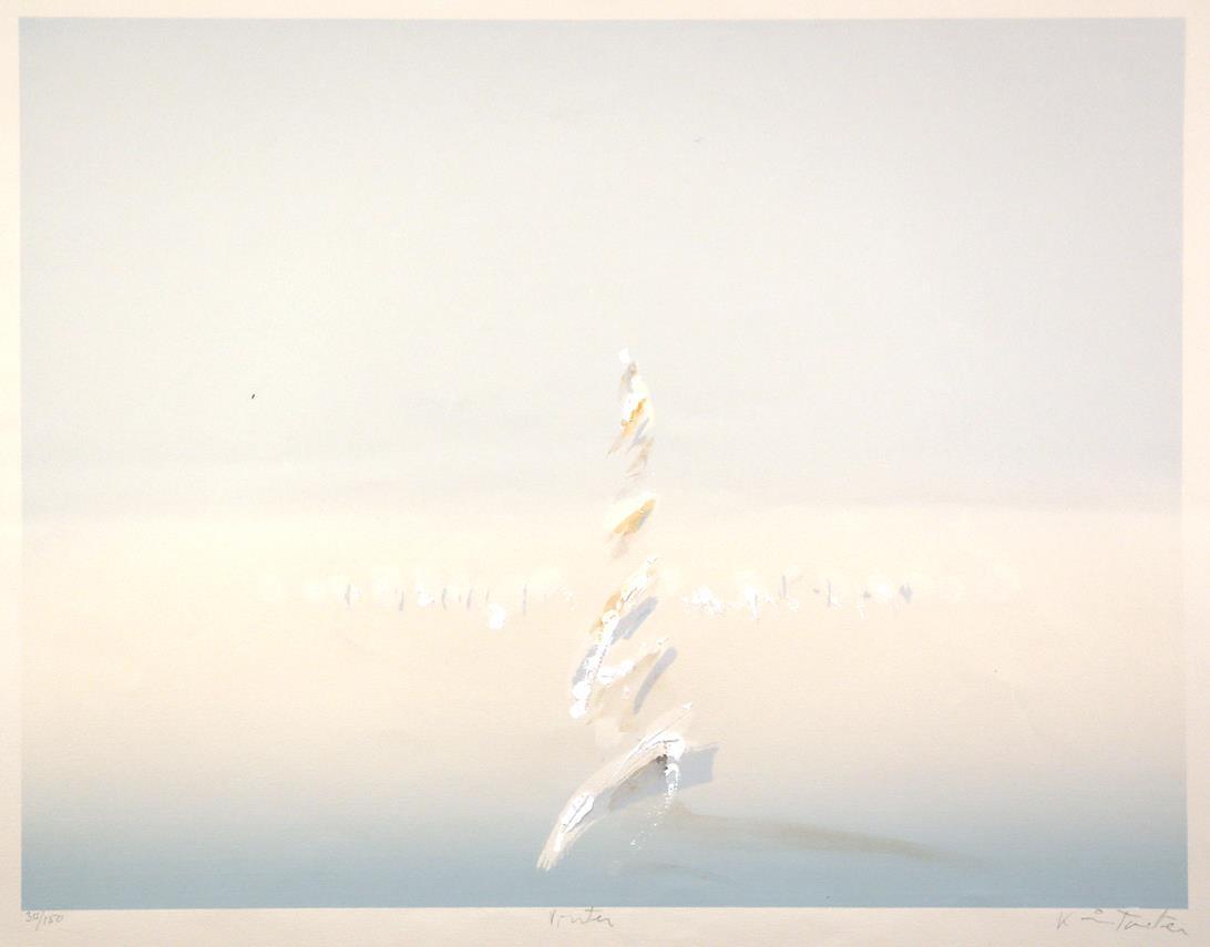 """Vinter"", håndkolorert silketrykk, 49,5 x 64,5 cm."