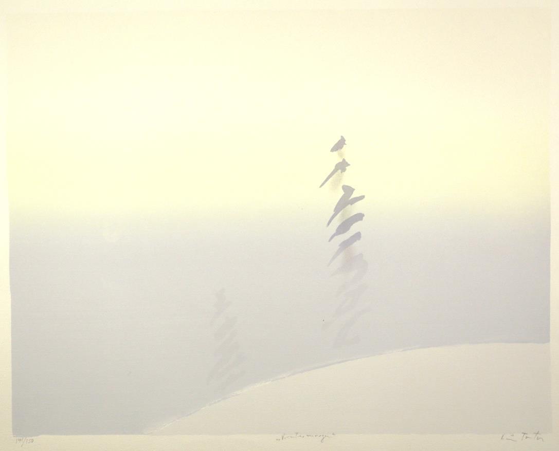 """Vintermorgen"", håndkolorert silketrykk, 50 x 63,5 cm."