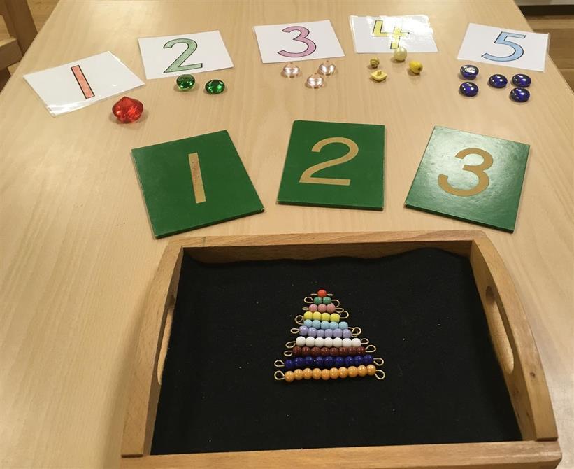 Pärlstavarna, sandpappers siffror och siffror och sifferkort med föremål. En del av matematik materielet.