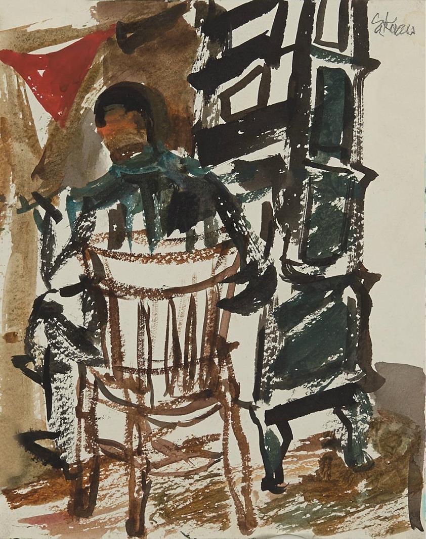 """""""Ved ovnen"""", akvarell på papir, 24 x 19 cm."""