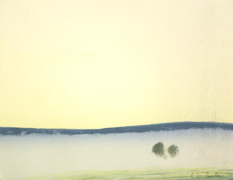 """""""Middtsommerlys"""" håndkolorert litografi, 29,5 x 29,5, cm., fra mappen flak av lyset"""