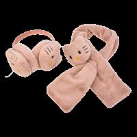 Set öronmuff + halsduk rosa