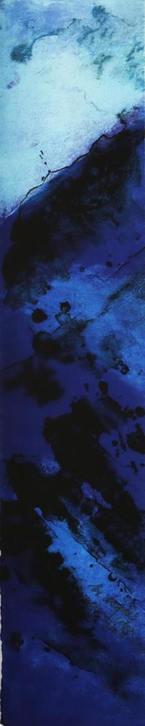 """Blått lys"" litografi 14 x 61 cm."