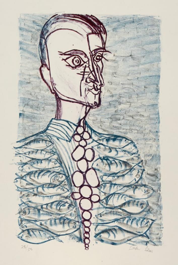 """Makrell-dressen"", litografi, 27/50, 52 x 33 cm."