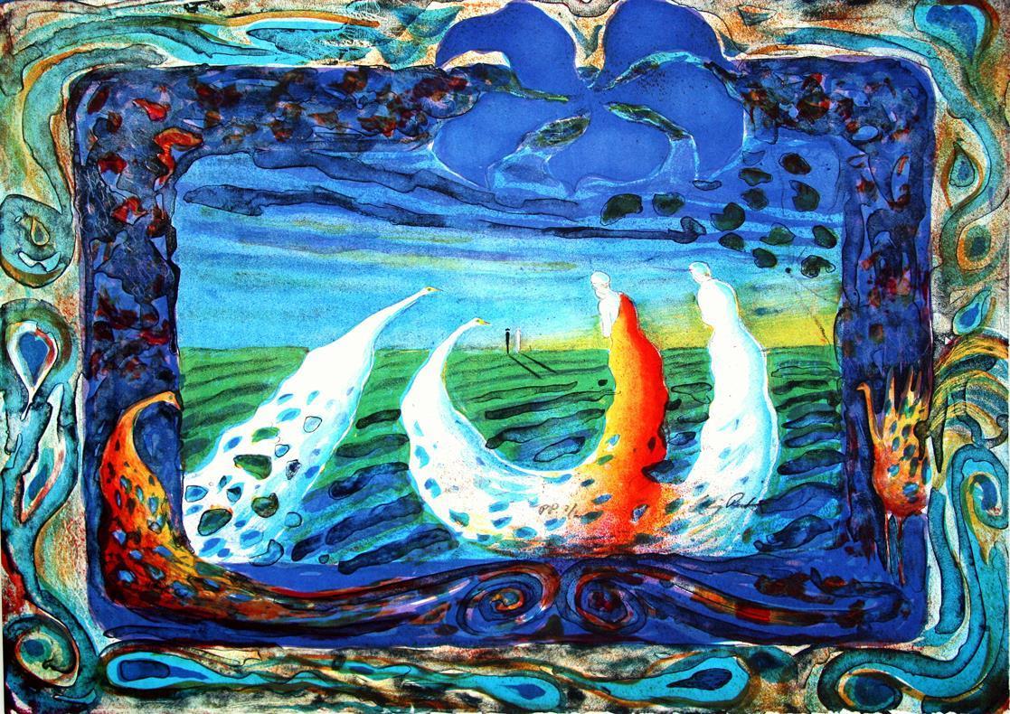 """""""Påfugleventyr"""", litografi, 45,5 x 61 cm."""