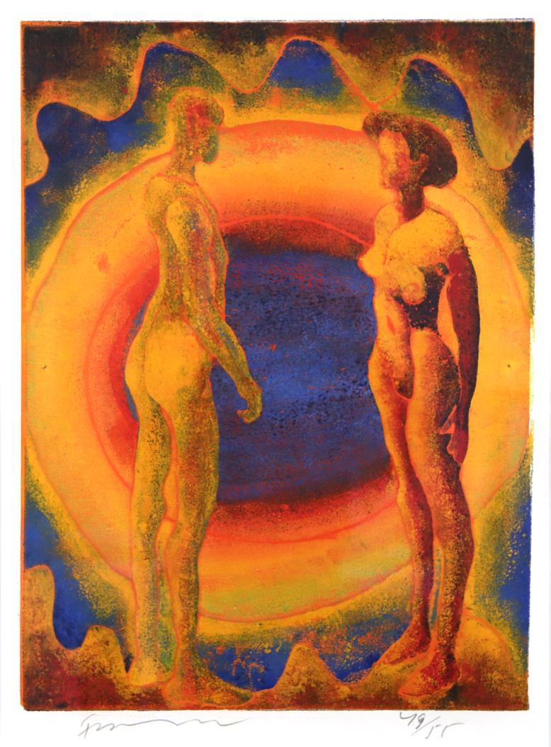 """To piker"", fargetresnitt, Frans Widerberg"