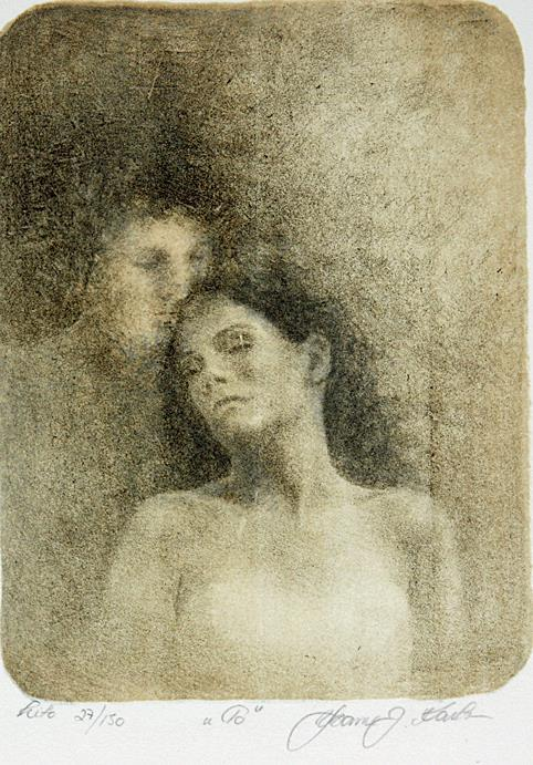 """To"", litografi, 19 x 13 cm."