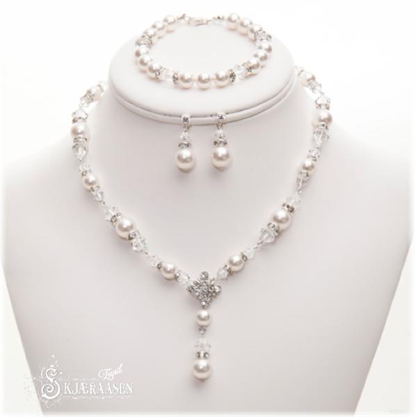Brudesmykke perler og krystall