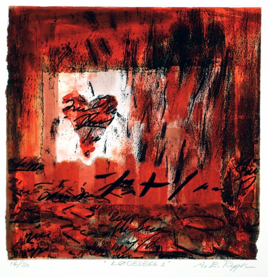 """Lødevegg"", rød, litografi"