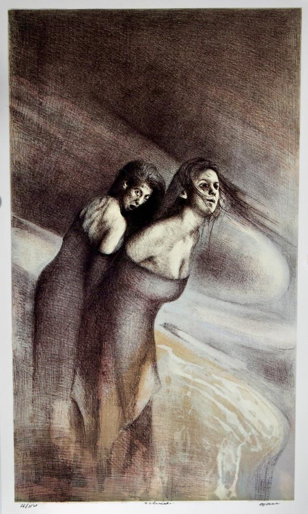 Cloud, litografi 64,5 x 38 cm.