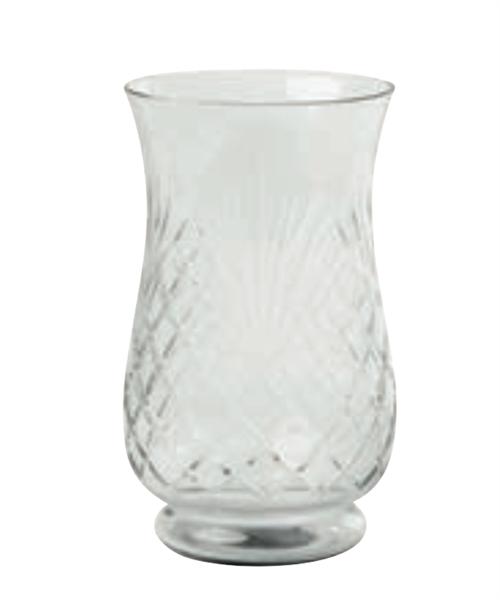 Hurricane, vase/lykt i slipt glass, 10x10x18cm