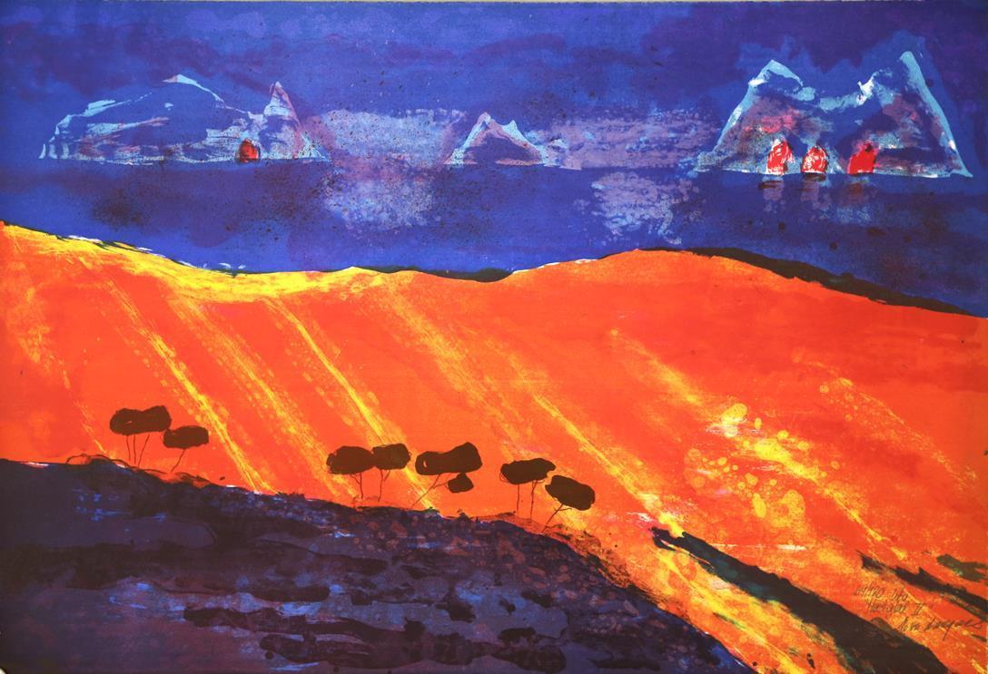 """""""Høstglød II"""", litografi 61 x 91 cm."""