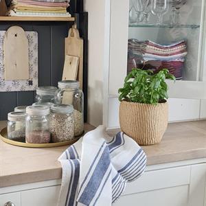 ODA kjøkkenhåndkle i lin denimblå