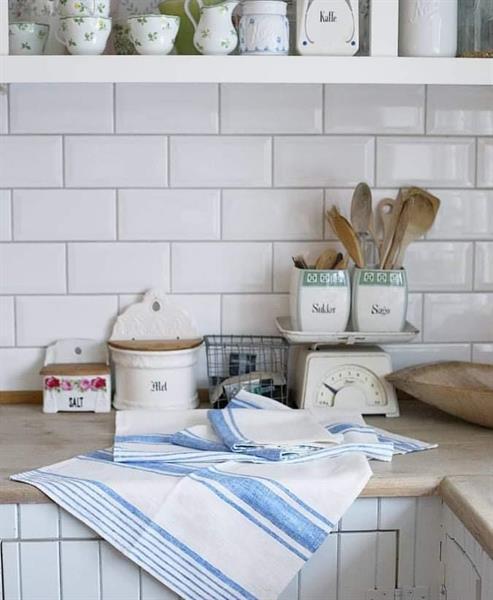 ODA kjøkkenhåndkle i lin blå