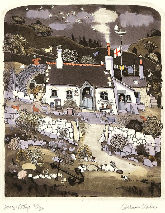 """Doreys Cottage"", håndkolorert etsing 25 x 30 cm."