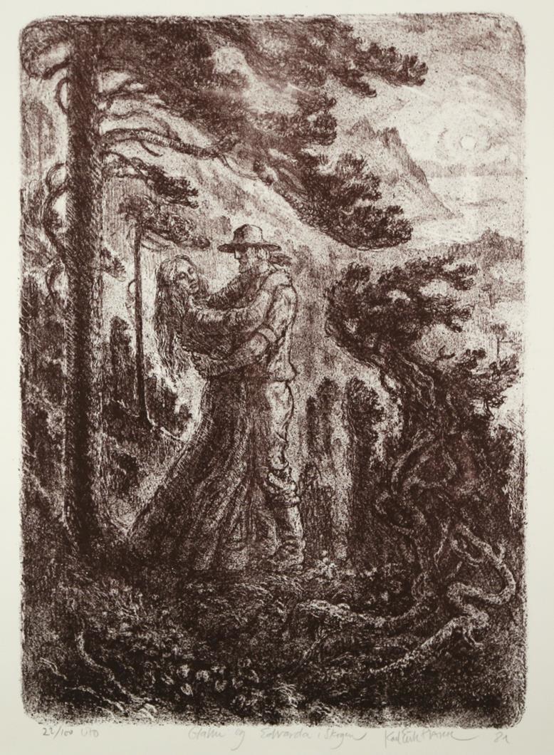 """Glan og Edvarda i skogen"", litografi 46 x 33 cm."