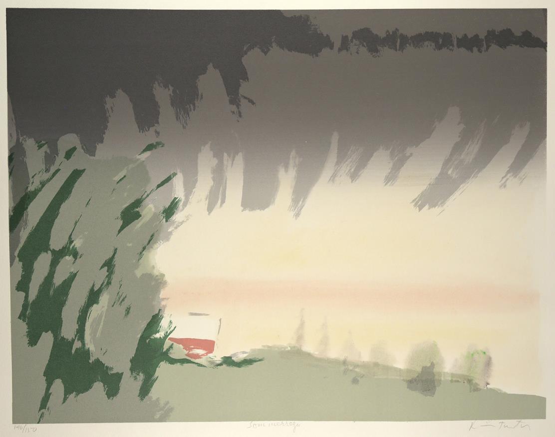 """""""Sommerregn"""", silketrykk, 50 x 65 cm."""