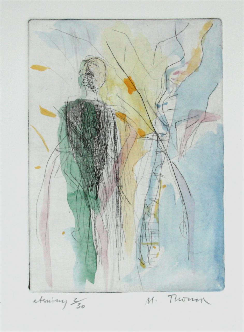 """""""Tilstand"""" kolorert etsing, 25 x 18 cm. innrammet med Art-Glass"""