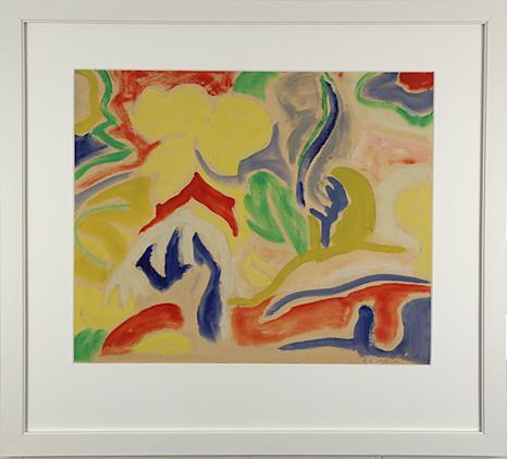 """Komposisjon"" akryl på papir 39 x 47,5 cm. Ramme 60 x 67 cm."