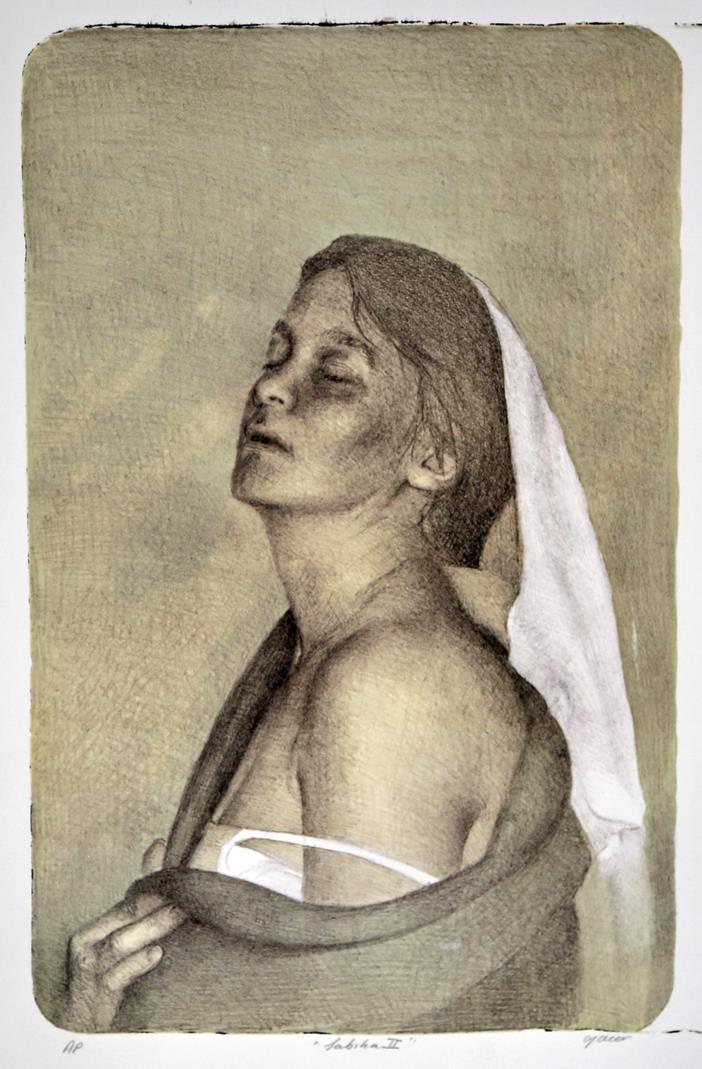 Sabiha II, litografi 48,5 x 31 cm.