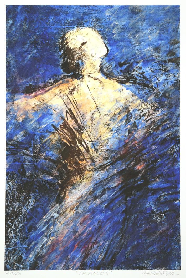 """""""Ikaros"""", blå, litografi, Astri Eidseth Rygh"""