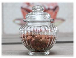 Glasskrukke rund med lokk H13/Ø10 cm