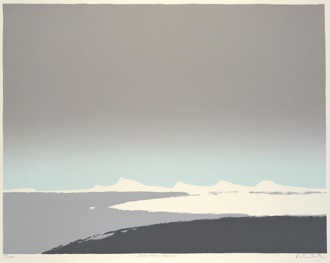 """Summer Rain"", litografi, 43,5 x 56,5 cm."