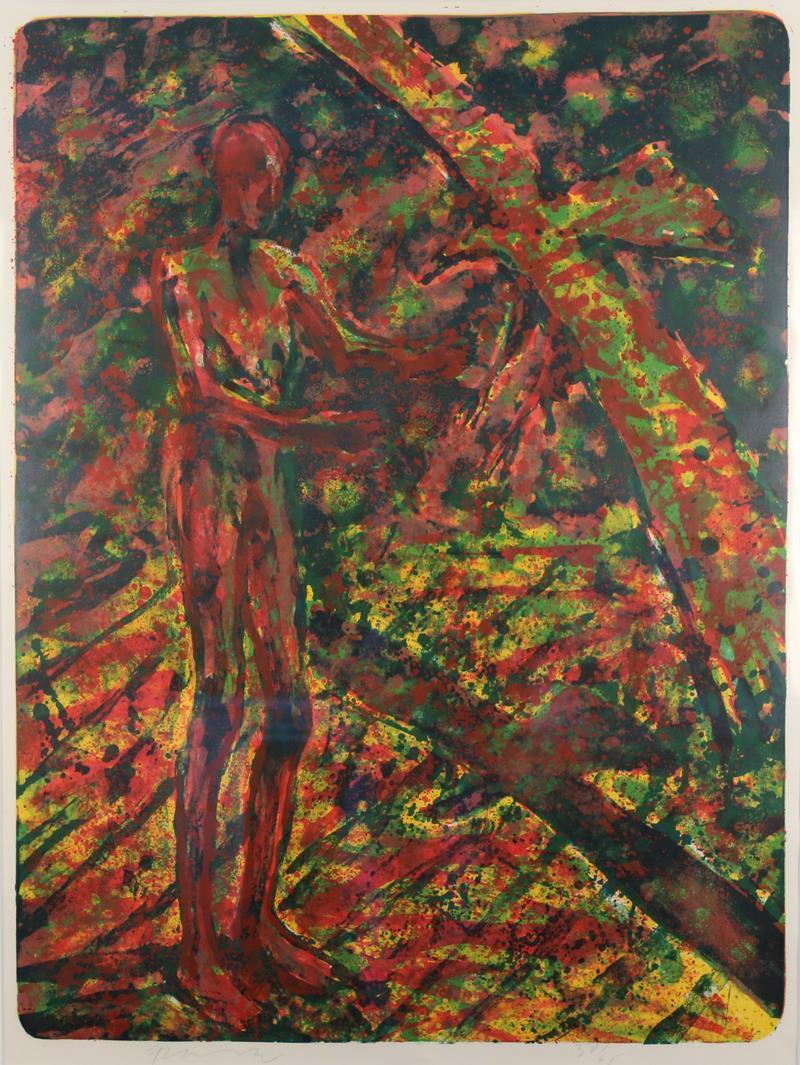 """""""Mann-Fugl"""", litografi 1992, 80 x 60 cm."""