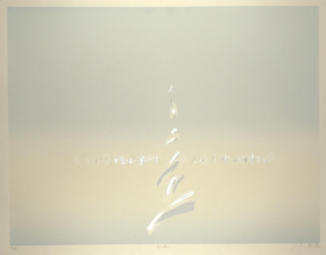 """Vinter"" håndkolorert silketrykk, 49,5 x 64,5 cm."
