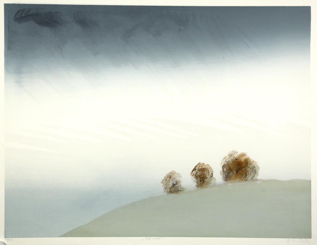 """Mot vinter"", håndkolorert silketrykk, 49,5 x 65 cm."