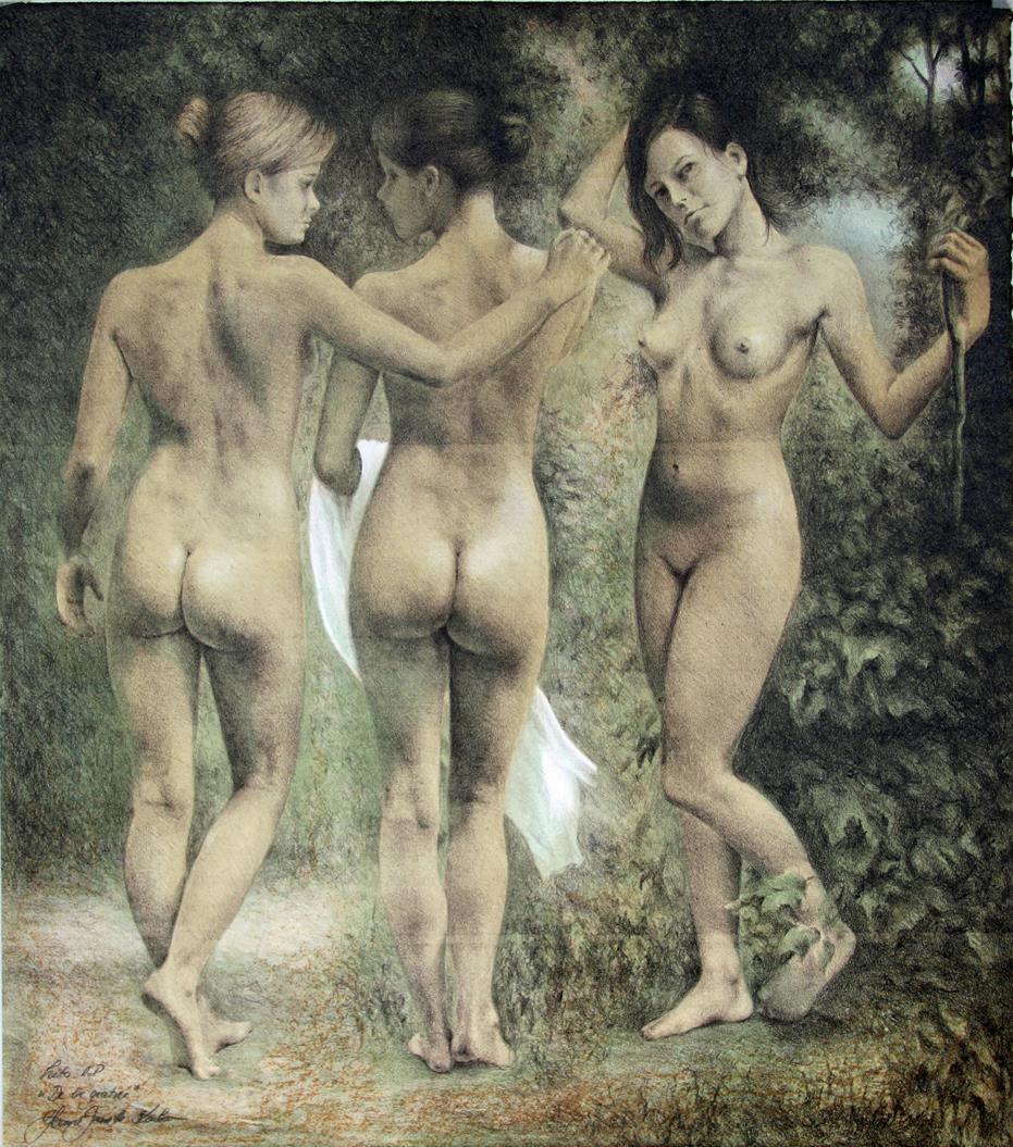 """""""De tre gratier"""", litografi, 62 x54 cm."""