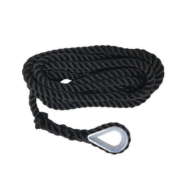 Förtöjningslina m nylonkaus, svart, pp-silke,12x4m