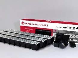 Garasjepakke avløpsrenne 3x1 m komplett