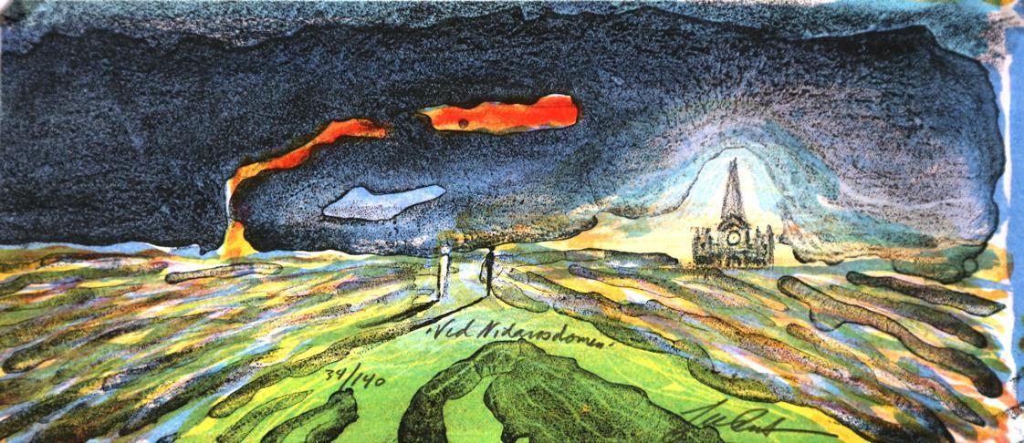 Ved Nidarosdomen, 12 x 27 cm.