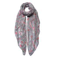 Blommig scarf grå