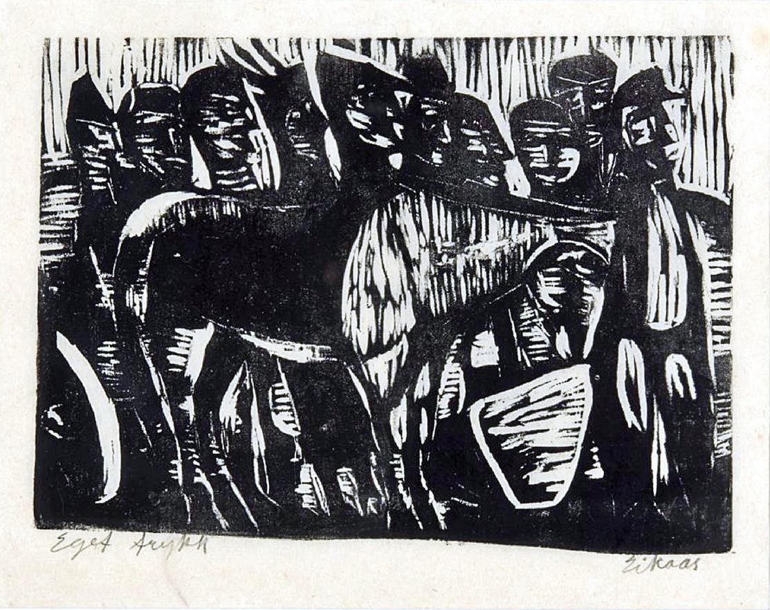 """""""Hesten hviler"""", tresnitt E.T.,22 x 29,5 cm."""