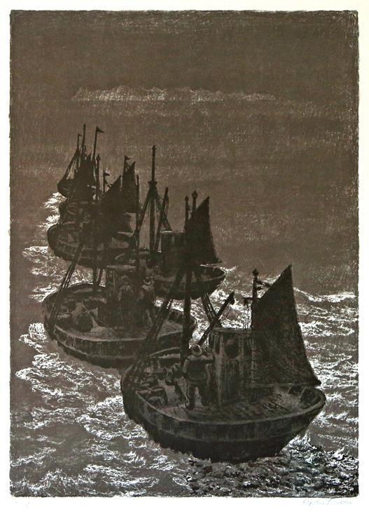 """Mot Lofoten"" litografi, Kaare Espolin Johnson"