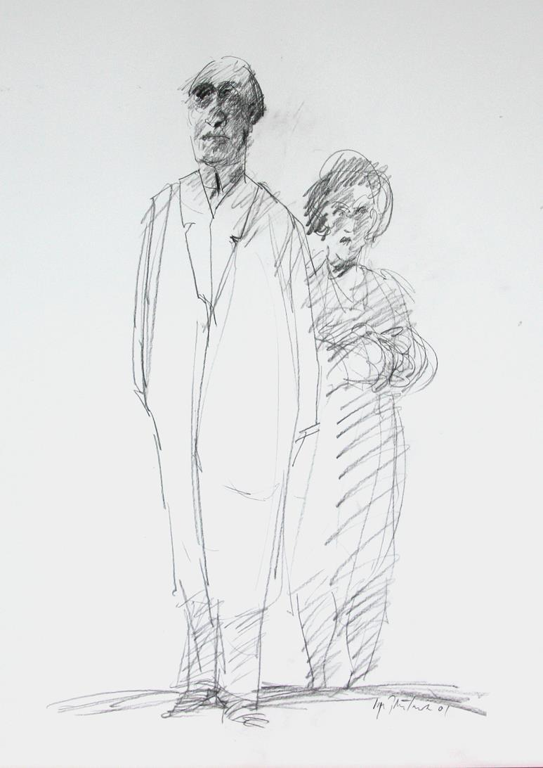 """Heftig samtale"", kullstift-tegning, 58 x 38 cm."