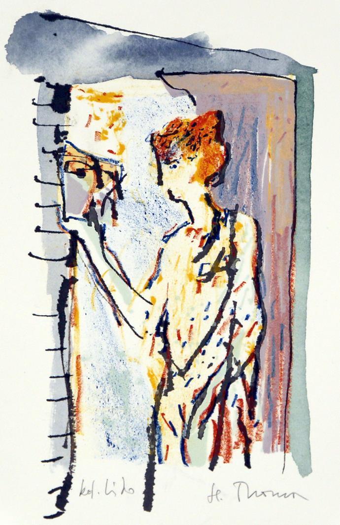 Uten tittel, kolorert litografi 19 x 11 cm.