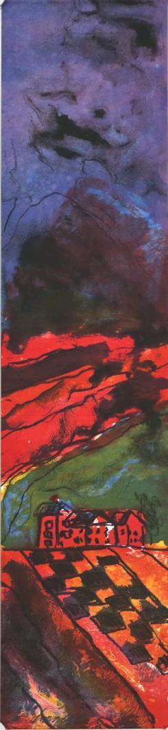"""""""Natt"""", litografi 15 x 61 cm."""