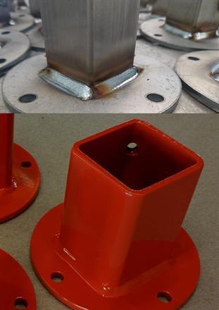 Legotillverkad produkt, Husqvarna. Övre olackad, nedre pulverlackad av Töreboda Pulverlackering.