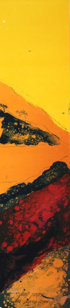 """Sollys"", litografi 15 x 62 cm."
