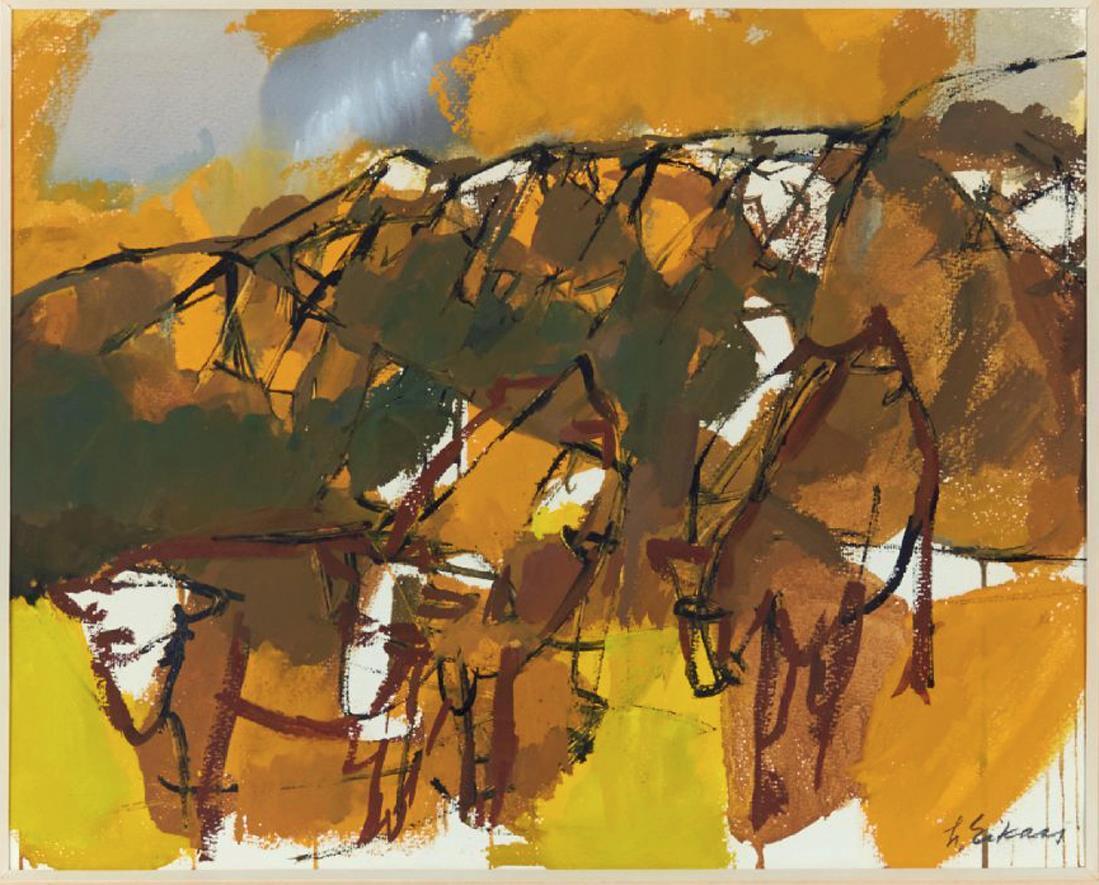 """""""Kyr i landskap"""", gouache på papir, 31 x 40 cm."""
