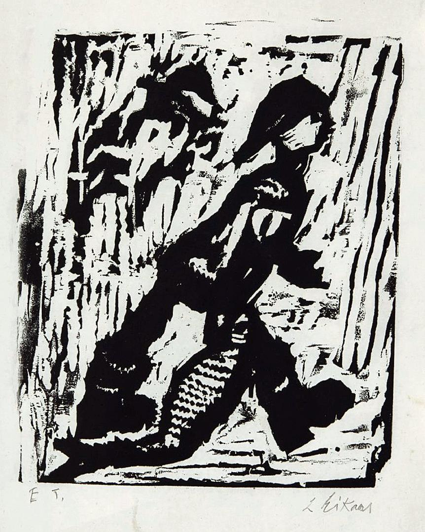 """Fiskar-guten"", tresnitt, E.T.,3 0 x 24 cm."