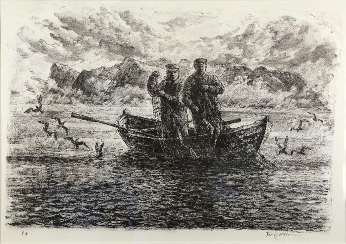 """Garnet trekkes"", litografi 42 x 62 cm."