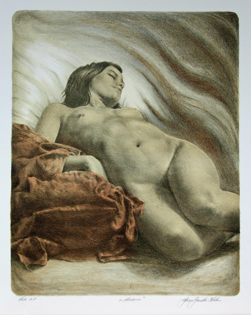 """Madonna"", litografi, 53 x 43 cm."